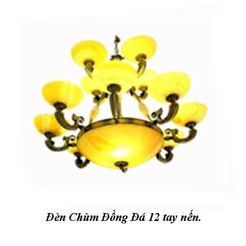 Đèn Chùm Đồng Đá 12 tay nến cao cấp.